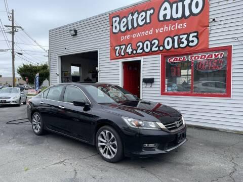 2013 Honda Accord for sale at Better Auto in Dartmouth MA
