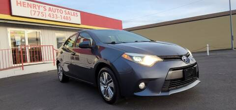 2015 Toyota Corolla for sale at Henry's Autosales, LLC in Reno NV