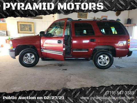 2001 Chevrolet Tahoe for sale at PYRAMID MOTORS - Pueblo Lot in Pueblo CO