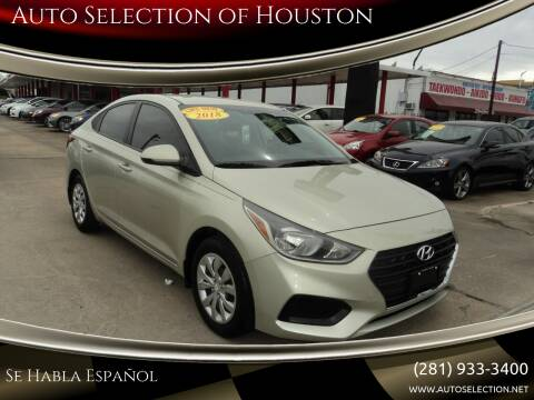 2018 Hyundai Accent for sale at Auto Selection of Houston in Houston TX