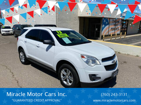 2013 Chevrolet Equinox for sale at Miracle Motor Cars Inc. in Victorville CA