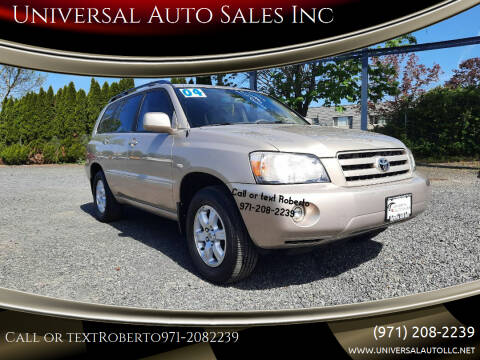 2004 Toyota Highlander for sale at Universal Auto Sales Inc in Salem OR