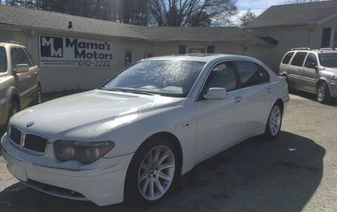 2003 BMW 7 Series for sale at Mama's Motors in Greer SC