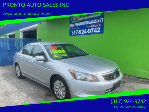 2010 Honda Accord for sale at PRONTO AUTO SALES INC in Indianapolis IN