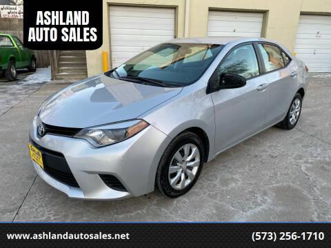2014 Toyota Corolla for sale at ASHLAND AUTO SALES in Columbia MO
