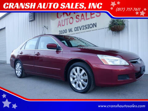 2006 Honda Accord for sale at CRANSH AUTO SALES, INC in Arlington TX