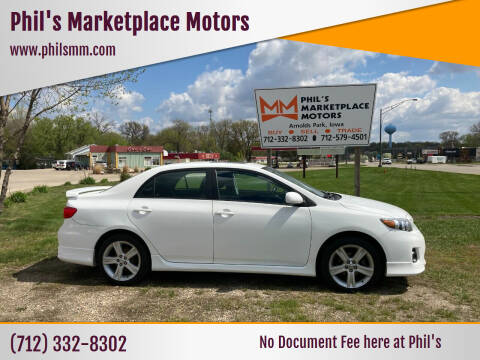 2013 Toyota Corolla for sale at Phil's Marketplace Motors in Arnolds Park IA