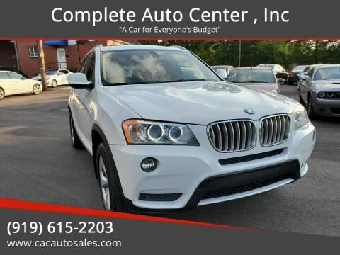 2012 BMW X3 for sale at Complete Auto Center , Inc in Raleigh NC