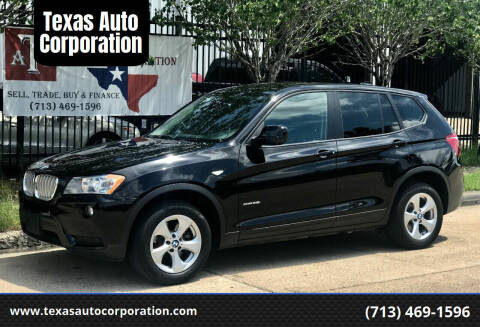 2012 BMW X3 for sale at Texas Auto Corporation in Houston TX