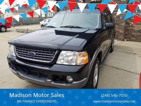 2002 Ford Explorer for sale at Madison Motor Sales in Madison Heights MI