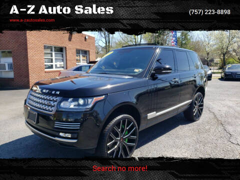2014 Land Rover Range Rover for sale at A-Z Auto Sales in Newport News VA