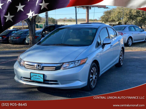 2012 Honda Civic for sale at Central Union Auto Finance LLC in Austin TX