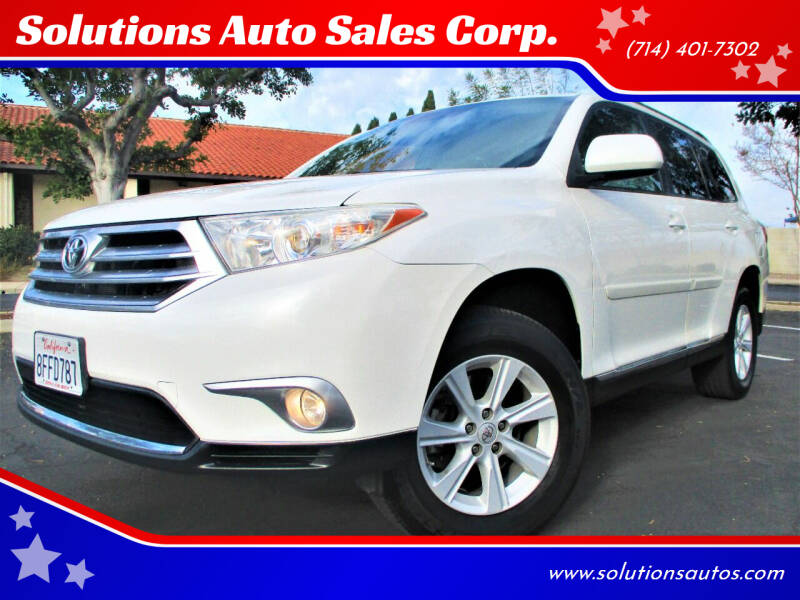 2012 Toyota Highlander for sale at Solutions Auto Sales Corp. in Orange CA