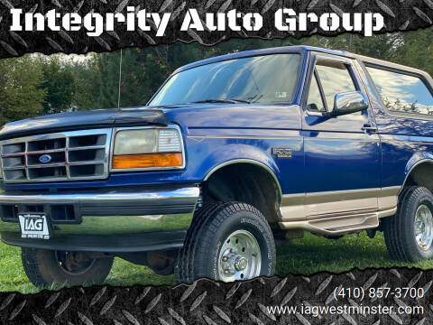 1996 Ford Bronco for sale at Integrity Auto Group in Westminister MD