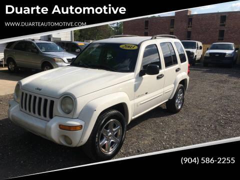 2003 Jeep Liberty for sale at Duarte Automotive in Jacksonville FL