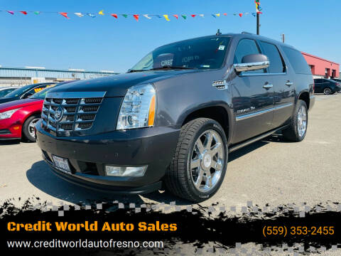 2011 Cadillac Escalade ESV for sale at Credit World Auto Sales in Fresno CA
