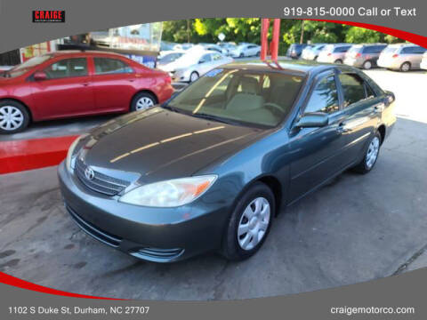 2002 Toyota Camry for sale at CRAIGE MOTOR CO in Durham NC