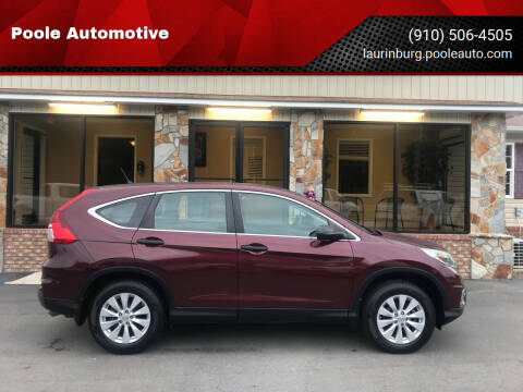 2015 Honda CR-V for sale at Poole Automotive in Laurinburg NC