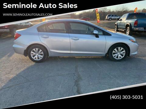 2012 Honda Civic for sale at Seminole Auto Sales in Seminole OK