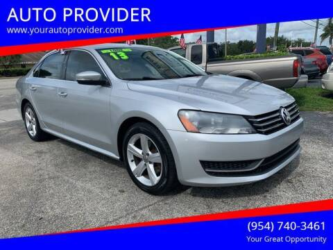 2013 Volkswagen Passat for sale at AUTO PROVIDER in Fort Lauderdale FL