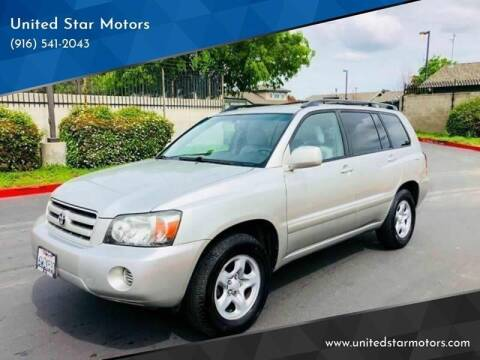 2007 Toyota Highlander for sale at United Star Motors in Sacramento CA