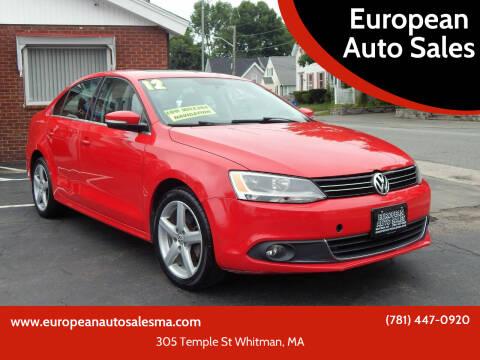 2012 Volkswagen Jetta for sale at European Auto Sales in Whitman MA
