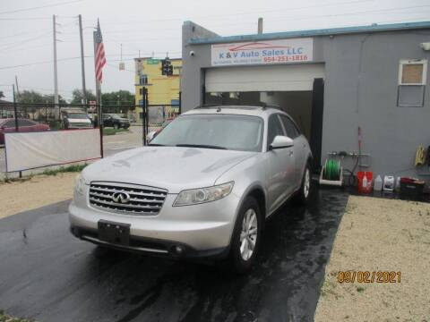 2006 Infiniti FX35 for sale at K & V AUTO SALES LLC in Hollywood FL