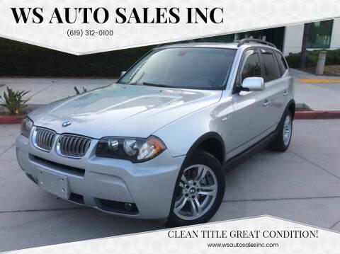 2006 BMW X3 for sale at WS AUTO SALES INC in El Cajon CA
