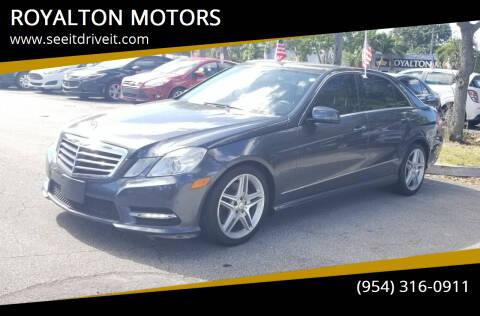 2013 Mercedes-Benz E-Class for sale at ROYALTON MOTORS in Plantation FL