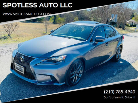 2015 Lexus IS 250 for sale at SPOTLESS AUTO LLC in San Antonio TX