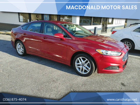 2013 Ford Fusion for sale at MacDonald Motor Sales in High Point NC
