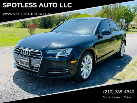 2017 Audi A4 for sale at SPOTLESS AUTO LLC in San Antonio TX