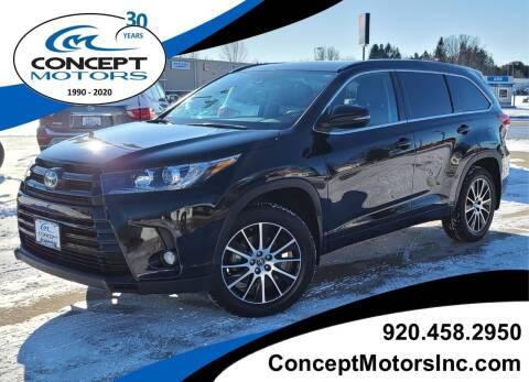 2017 Toyota Highlander for sale at CONCEPT MOTORS INC in Sheboygan WI