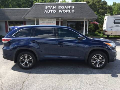 2016 Toyota Highlander for sale at STAN EGAN'S AUTO WORLD, INC. in Greer SC