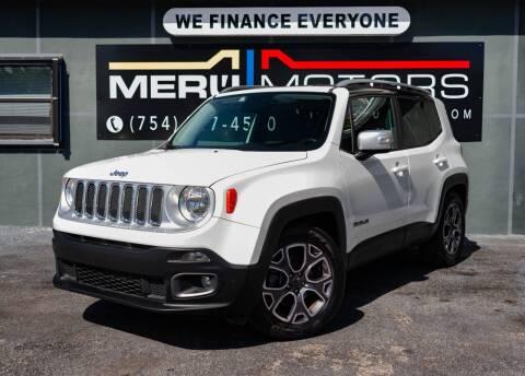 2017 Jeep Renegade for sale at Meru Motors in Hollywood FL