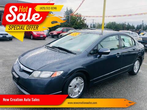 2006 Honda Civic for sale at New Creation Auto Sales in Everett WA