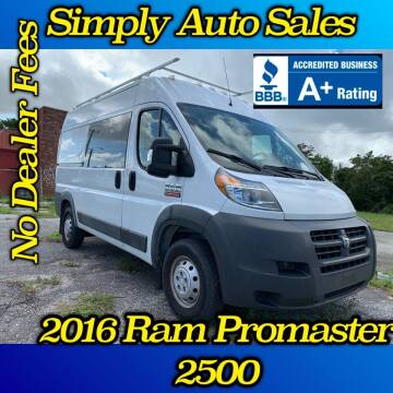 2016 RAM ProMaster Cargo for sale at Simply Auto Sales in Palm Beach Gardens FL