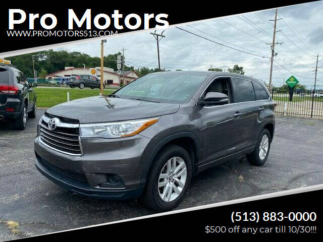 2016 Toyota Highlander for sale at Pro Motors in Fairfield OH