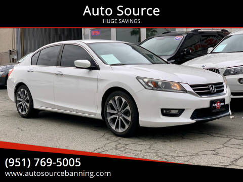 2015 Honda Accord for sale at Auto Source in Banning CA