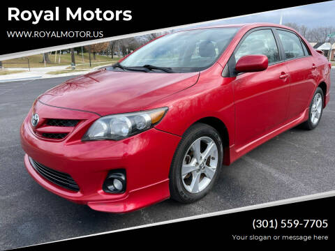 2012 Toyota Corolla for sale at Royal Motors in Hyattsville MD