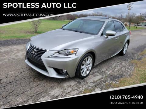 2014 Lexus IS 250 for sale at SPOTLESS AUTO LLC in San Antonio TX