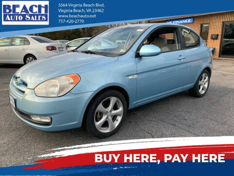 2008 Hyundai Accent for sale at Beach Auto Sales in Virginia Beach VA