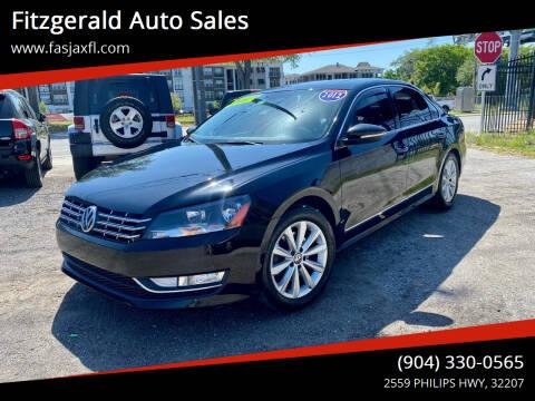 2012 Volkswagen Passat for sale at Fitzgerald Auto Sales in Jacksonville FL