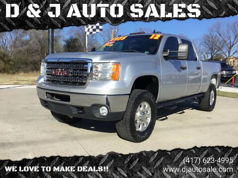 2012 GMC Sierra 2500HD for sale at D & J AUTO SALES in Joplin MO