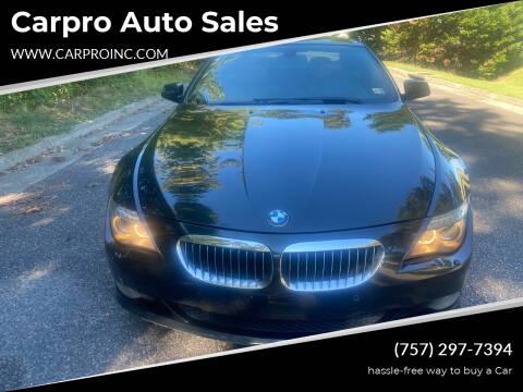 2010 BMW 6 Series for sale at Carpro Auto Sales in Chesapeake VA
