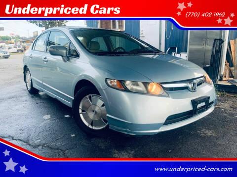 2007 Honda Civic for sale at Underpriced Cars in Marietta GA