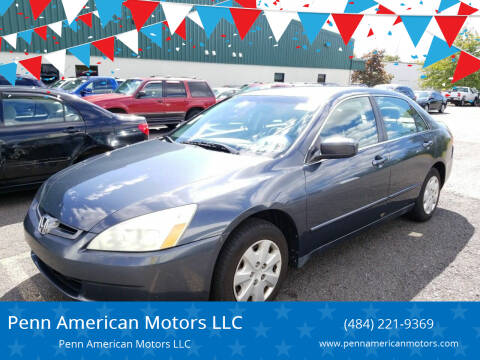 2003 Honda Accord for sale at Penn American Motors LLC in Allentown PA
