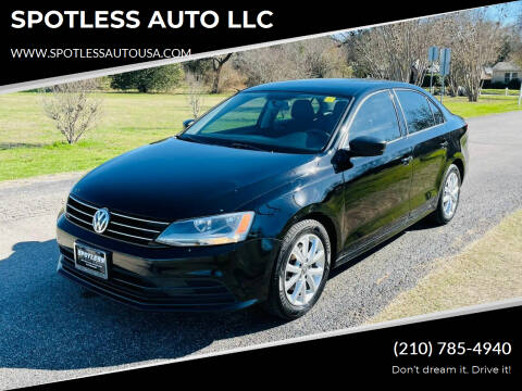 2015 Volkswagen Jetta for sale at SPOTLESS AUTO LLC in San Antonio TX
