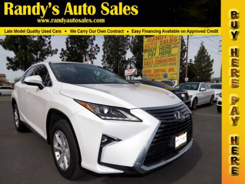 2016 Lexus RX 350 for sale at Randy's Auto Sales in Ontario CA