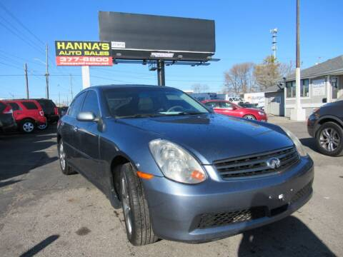 2006 Infiniti G35 for sale at Hanna's Auto Sales in Indianapolis IN